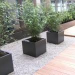 Innenhof der Firma Siemens in Mannheim, Hochbeete, Holzbeläge, Bewässerungsanlage, Bepflanzung, Dauerpflege