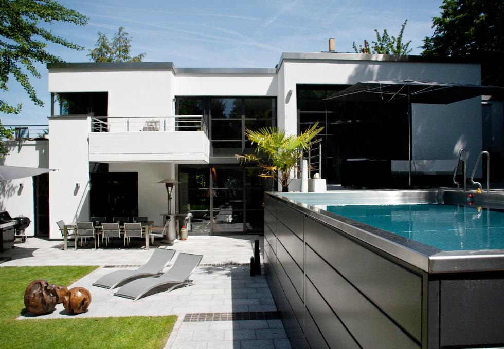 Hochgelegter swimmingpool mit bauhaus ambiente g rten von g rtner - Bauhaus pool zubehor ...